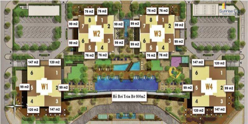 Mặt bằng khu Central Tower dự án Sunrise City
