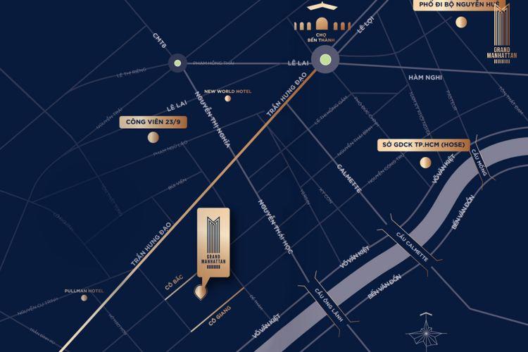 """Vị trí """"kim cương"""" dự án căn hộ The Grand Manhattan"""