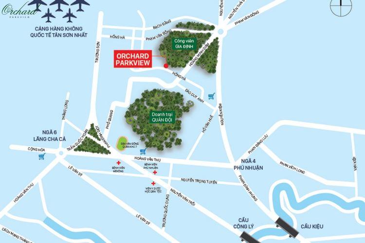 """Vị trí """"Vàng"""" dự án căn hộ chung cư Orchard Parkview  Phú Nhuận"""